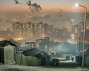 Air pollution in the Dari Ekh Ger district. One of the main reason for air pollution is the unplanned rapid urbanization of Mongolia's capital. It results in uncontrolled coal burning, used for cooking and heating.<br /> Mongolia