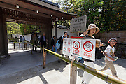 Warning signs against the use of selfie sticks and drones, along with other restrictions at the entrance to Ginkaku-ji or Silver Temple in Kyoto, Japan. Sunday April 24th 2016