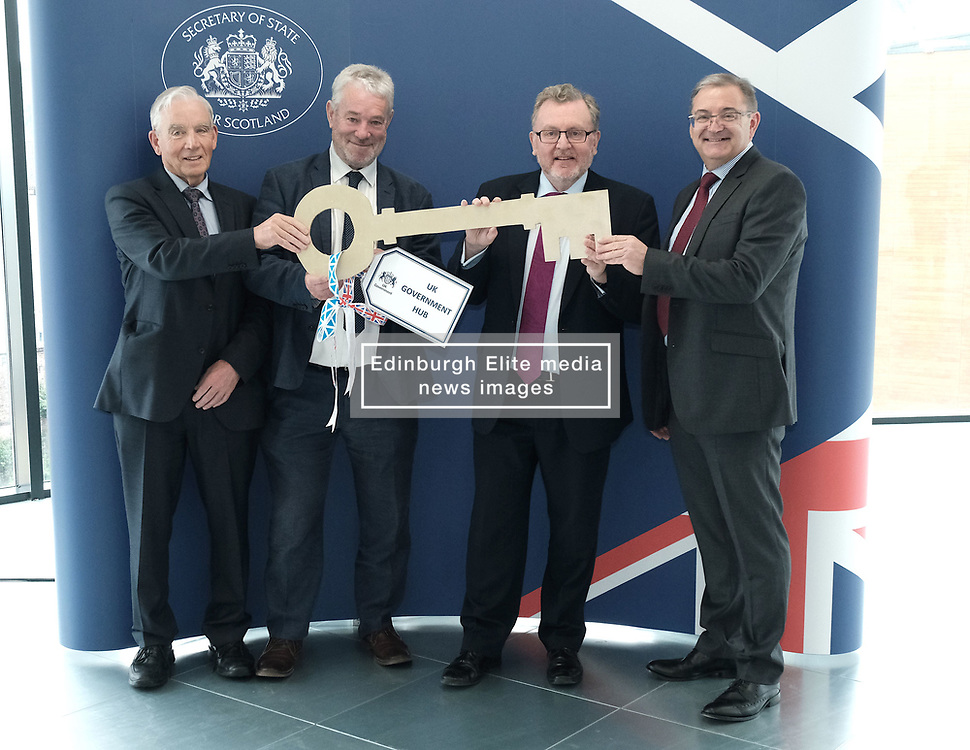 Scottish Secretary of State David Mundell received the keys to the new UK Government building in Edinburgh.<br /> <br /> The new hub is due to open in early 2020 and bring together nearly 3,000 UK Government civil servants.<br /> <br /> Pictured: (l to r) Seamus McAleer (founder & chairman, McAleer and Rushe), Clive Wilding (Property Director, Artisan Real Estate), David Mundell MP and Brian Redford (HMRC)<br /> <br /> Alex Todd | Edinburgh Elite media