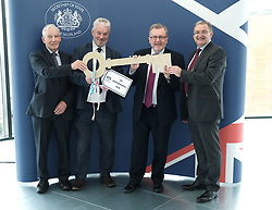 Scottish Secretary of State David Mundell received the keys to the new UK Government building in Edinburgh.<br /> <br /> The new hub is due to open in early 2020 and bring together nearly 3,000 UK Government civil servants.<br /> <br /> Pictured: (l to r) Seamus McAleer (founder & chairman, McAleer and Rushe), Clive Wilding (Property Director, Artisan Real Estate), David Mundell MP and Brian Redford (HMRC)<br /> <br /> Alex Todd   Edinburgh Elite media