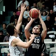 Anadolu Efes's Dusko Savanovic (R) during their Turkish Basketball league derby match Besiktas between Anadolu Efes at the BJK Akatlar Arena in Istanbul Turkey on Saturday 31 December 2011. Photo by TURKPIX