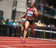 Kaliese Spencer of Jamaica wins the Prefontaine Classic's Women's 400m Hurdles with a time of 54.29. The Prefontaine Classic, the longest-running international invitational meet in the United States, turns 40 this year.<br /> The 2014 elite competition held in Eugene, Oregon at the University of Oregon's historic Hayward Field is in it's 5th year hosting the IAAF's Diamond League event.