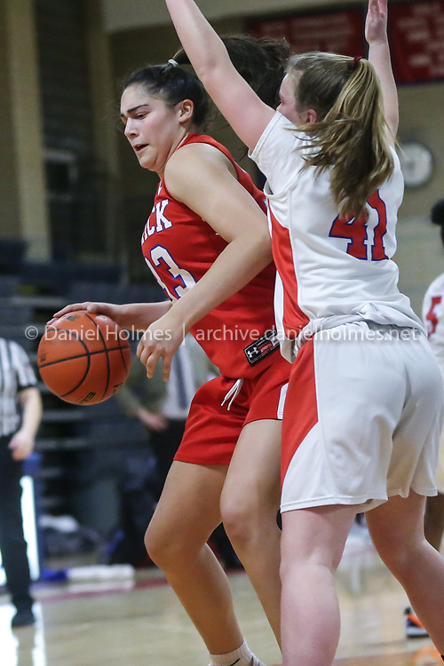 (1/21/20, BROOKLINE, MA) Natick's Madi Forman drives to the basket during the girls basketball game against Brookline at Brookline High School on Tuesday. [Daily News and Wicked Local Photo/Dan Holmes]