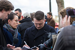 London, March 22nd 2017. Former anti-Muslim English Defence League leader Tommy Robinson at the police cordon on Victoria Embankment in the aftermath of a shooting incident on Westminster Bridge, where several pedestrians were also mown down by a car.