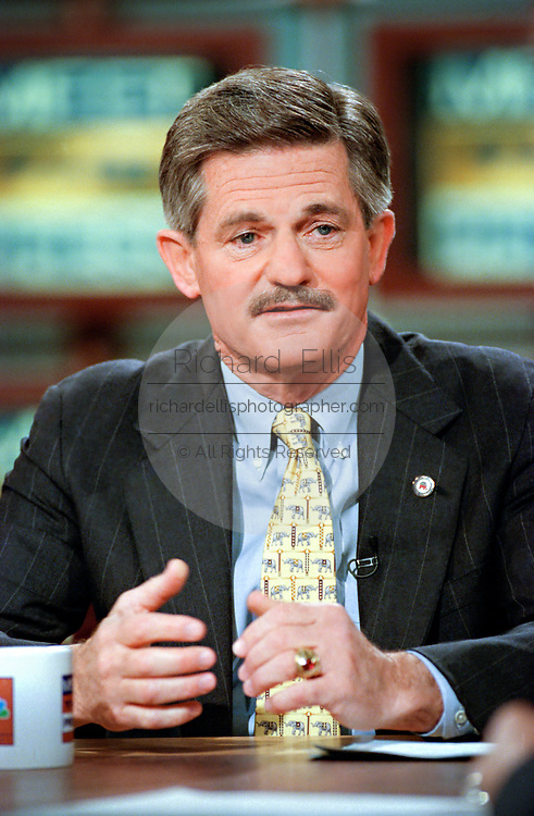 U.S. Chairman of the Republican National Committee Jim Nicholson during the Sunday political talk show, Meet the Press, on NBC-TV June 6, 1999 in Washington, DC.