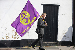 © Licensed to London News Pictures. 29/04/2017. Hartlepool UK. UKIP supporters gather ahead o a campaign meeting with UKIP leader Paul Nuttall  in Hartlepool. Photo credit: Andrew McCaren/LNP