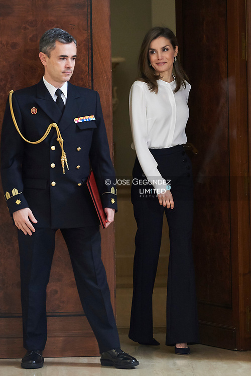 Queen Letizia of Spain attended an audience to a representation of the organizers of the International Student Fair at Zarzuela Palace on March 28, 2017 in Madrid