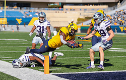Oct 31, 2020; Morgantown, West Virginia, USA; West Virginia Mountaineers running back Leddie Brown (4) dives for a touchdown during the second quarter against the Kansas State Wildcats at Mountaineer Field at Milan Puskar Stadium. Mandatory Credit: Ben Queen-USA TODAY Sports