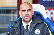 Pep Guardiola, the Manchester City manager looking on from the dugout .. Premier League match, Crystal Palace v Manchester city at Selhurst Park in London on Saturday 19th November 2016. pic by John Patrick Fletcher, Andrew Orchard sports photography.