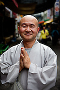 Portrait of a Monk in Gongju, this Korean city was the second capital of the Baekje kingdom from AD 475 for 70 years, South Korea, Republic of Korea, KOR, 31 November 2009.
