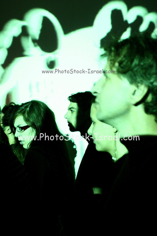The crowd at the Israeli , Brooklyn  Indie rock band  Pink noise at a performance in Tel  Aviv. Sep. 9, 2006.