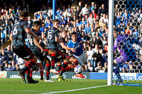 Football - 2016 / 2017  League Two - Portsmouth vs.Doncaster Rovers<br /> <br /> Gary Roberts of Portsmouth watches as his header goes across goal to be cleared off the line at Fratton Park<br /> <br /> Colorsport/Shaun Boggust