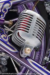 "Dalton Walker's S.I.K. 1984 purple graphic Harley-Davidson 1984 80"" Evo chopper with an original Denvers Springer. Photographed by Michael Lichter on January 10, 2014 in Charlotte, NC. ©2014 Michael Lichter"