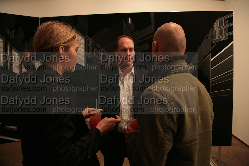 Diana Kamalova, Harry Blain and Rory Howard, Planit- Exhibition of work by Ian Munroe. Haunch of Venison. London. 1 March 2007.  -DO NOT ARCHIVE-© Copyright Photograph by Dafydd Jones. 248 Clapham Rd. London SW9 0PZ. Tel 0207 820 0771. www.dafjones.com.