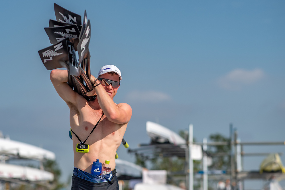 William Thompson (stroke) (Waikato RC) NZ Junior Mens Quadruple Scull<br /> <br /> Qualification races and training at the 2019 Junior Worlds, on the Sea Forest Waterway, Tokyo, Japan. Thursday 8  August 2019  © Copyright photo Steve McArthur / www.photosport.nz