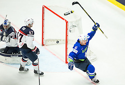 Ales Music of Slovenia celebrates after scoring first goal for Slovenia against Connor Hellebuyck of USA during Ice Hockey match between Slovenia and USA at Day 10 in Group B of 2015 IIHF World Championship, on May 10, 2015 in CEZ Arena, Ostrava, Czech Republic. Photo by Vid Ponikvar / Sportida