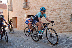 Gabrielle Pilote Fortin (CAN) battles up the cobbled climb at the 2020 Clasica Feminas De Navarra, a 122.9 km road race starting and finishing in Pamplona, Spain on July 24, 2020. Photo by Sean Robinson/velofocus.com