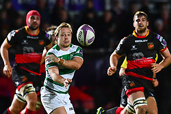 Newcastle Falcons' Joel Hodgson in action during todays match<br /> <br /> Photographer Craig Thomas/Replay Images<br /> <br /> EPCR Champions Cup Round 4 - Newport Gwent Dragons v Newcastle Falcons - Friday 15th December 2017 - Rodney Parade - Newport<br /> <br /> World Copyright © 2017 Replay Images. All rights reserved. info@replayimages.co.uk - www.replayimages.co.uk