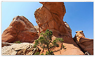 The underside of Broken Arch at Arches National Park, Utah, USA