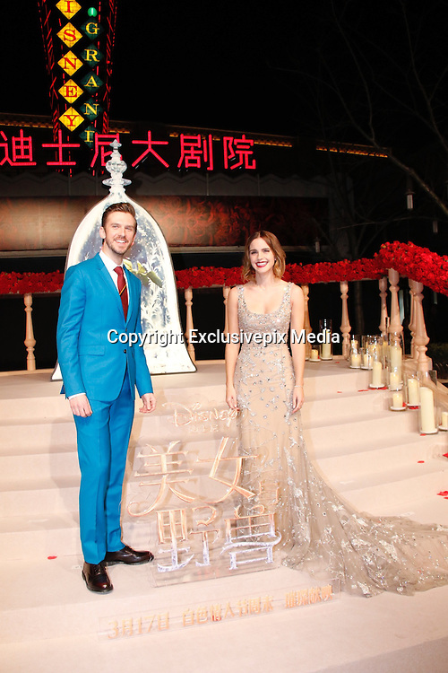 """SHANGHAI, CHINA - FEBRUARY 27: <br /> <br /> British actor Dan Stevens and British actress Emma Watson attend the premiere of American director Bill Condon\'s film \""""Beauty and the Beast\"""" at Walt Disney Theatre on February 27, 2017 in Shanghai, China.<br /> ©Exclusivepix Media"""