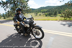 Paul Ousey riding his 1925 Harley-Davidson JE during Stage 9 (249 miles) of the Motorcycle Cannonball Cross-Country Endurance Run, which on this day ran from Burlington to Golden, CO., USA. Sunday, September 14, 2014.  Photography ©2014 Michael Lichter.