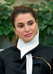 Queen Rania of Jordan looks on as United States President Donald J. Trump meets King Abdullah II of Jordan in the Oval Office of the White House in Washington, DC on Wednesday, April 5, 2017.<br /> Credit: Ron Sachs / Pool via CNP *** Please Use Credit from Credit Field ***