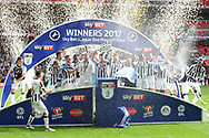 Millwall players celebrate their promotion to the championship.  EFL Skybet football league one play off final match, Bradford city v Millwall at Wembley Stadium in London on Saturday 20th May 2017.<br /> pic by Steffan Bowen,  Andrew Orchard sports photography.