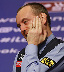 BRITAIN-SHEFFIELD-SNOOKER-WORLD CHAMPIONSHIP-FINAL.(180507) -- SHEFFIELD (BRITAIN), May 7, 2018   Mark Williams of Wales celebrates after his final with John Higgins of Scotland at the World Snooker Championship 2018 at the Crucible Theatre in Sheffield, Britain on May 7, 2018. Mark Williams won 18-16 to claime the title. (Credit Image: © Han Yan/Xinhua via ZUMA Wire)