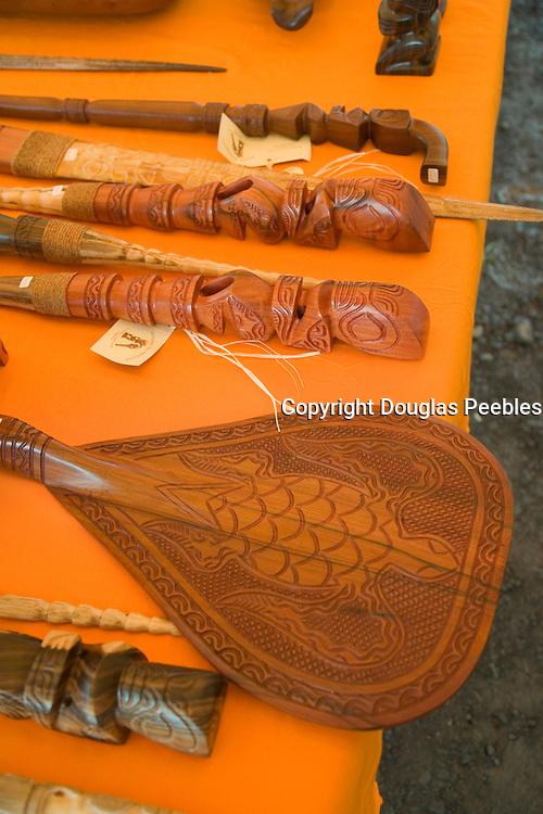 Carved wood paddle tith turtle design, Atuona, Hiva Oa, Marquesa Islands, French Polynesia<br />