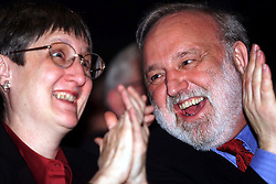 Labour Party's 100th birthday at the Old Vic theatre, London ..FRANK DOBSON AND HIS WIFE, February 27, 2000. Photo by Andrew Parsons / i-images..