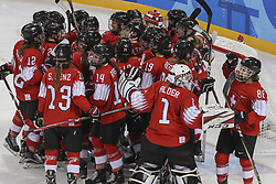February 10, 2018 - Gangneung, GANGWON, SOUTH KOREA - Feb 10, 2018-Gangneung, South Korea-Swiss Olympic Hockey Team goal ceremony after first goal during the 2018 pyeongchang Winter Olympic Korea v Swiss Women Ice Hockey at Gwandong Hockey Center in Gangwon, South Korea. (Credit Image: © Gmc via ZUMA Wire)