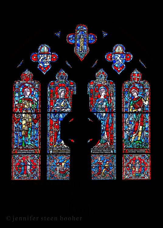 """Window 1 on plan. About 9'-6"""" wide, too tall to measure.<br /> <br /> Saint Mary's by-the-Sea, Northeast Harbor, Maine."""