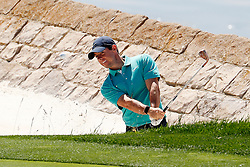 June 11, 2019 - Pebble Beach, CA, U.S. - PEBBLE BEACH, CA - JUNE 11: PGA golfer Rory McIlroy hits a sand shot on the 18th hole during a practice round for the 2019 US Open on June 11, 2019, at Pebble Beach Golf Links in Pebble Beach, CA. (Photo by Brian Spurlock/Icon Sportswire) (Credit Image: © Brian Spurlock/Icon SMI via ZUMA Press)
