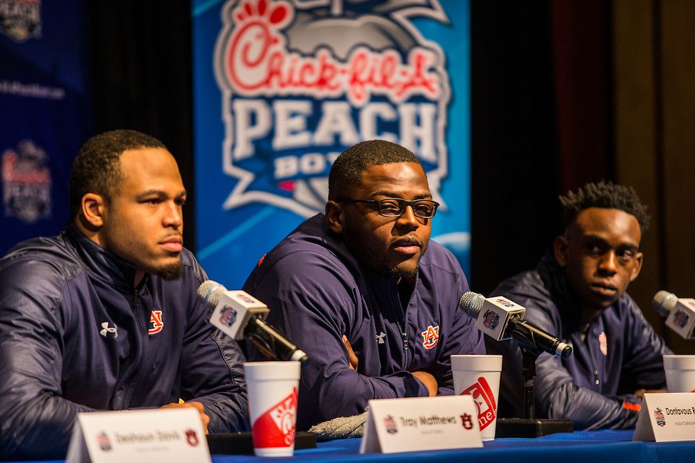 Auburn Tigers players and coaches hold a press conference at the Hyatt Regency Hotel on Friday, December 29, 2017, in Atlanta, GA. Auburn will face UCF in the Chick-fil-A Peach Bowl on January 1, 2018. (Jason Parkhurst via Abell Images for Chick-fil-A Peach Bowl)