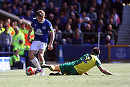 Jonjoe Kenny of Everton is tackled by Robbie Brady of Norwich City. Barclays Premier League match, Everton v Norwich City at Goodison Park in Liverpool on Sunday 15th May 2016.<br /> pic by Chris Stading, Andrew Orchard sports photography.