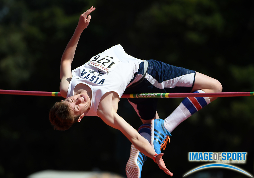 Apr 2, 2016; Stanford, CA, USA; Jake Grimsman of Vista Del  Lago (Folsom) places fourth in the boys high jump at 6-4 (1.93m) during the 2016 Stanford Invitational at Cobb Track & Angell Field.