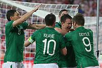 Football - European Championships 2012 - Republic of Ireland v Croatia<br /> Sean St Ledger of Ireland is congratulated on his goal by team mates at the Municipal Stadium, Poznan