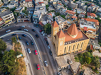 Aerial view of St-Antoine church in Aley, Lebanon.
