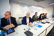 Cristobal Montoro, Minister of Finance, Alberto Ruiz Gallardon, Minister of Justice and Soraya de Santa Maria, vice president  during the appearance of Mariano Rajoy at the PP headquarters to talk about the Barcenas case