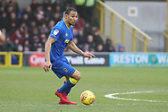 AFC Wimbledon defender Darius Charles (32) dribbling during the EFL Sky Bet League 1 match between AFC Wimbledon and Northampton Town at the Cherry Red Records Stadium, Kingston, England on 10 February 2018. Picture by Matthew Redman.