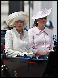 The Duchess of Cambridge and the Duchess Of Cornwall leave Buckingham Palace on their way to Horse Guards Parade for Trooping The Colour, London, United Kingdom,<br /> Saturday, 15th June 2013<br /> Picture by Andrew Parsons / i-Images