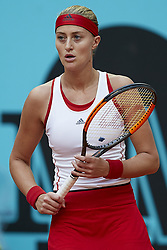 May 9, 2018 - Madrid, Madrid, Spain - Kristina Mladenovic of France reacts in her match against Maria Sharapova of Russia during day five of the Mutua Madrid Open tennis tournament at the Caja Magica on May 9, 2018 in Madrid, Spain  (Credit Image: © David Aliaga/NurPhoto via ZUMA Press)