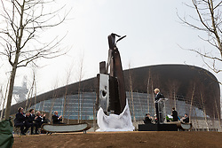 © Licensed to London News Pictures. 17/03/2015. London, UK. Mayor of London, Boris Johnson speaks at a special ceremony and unveils a steel sculpture crafted out of the 9/11 Twin Towers' steel wreckage at the Queen Elizabeth Olympic Park in Stratford today. The artwork by American artist, Miya Ando commemorates the 10th anniversary of the 9/11 attacks and stands at 28 feet tall and weighs over 4 tons. Photo credit : Vickie Flores/LNP