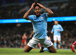 Manchester City's Raheem Sterling reacts after his side concede the first goal of the game