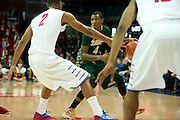 DALLAS, TX - JANUARY 15: Corey Allen Jr. #4 of the South Florida Bulls brings the ball up court against the SMU Mustangs on January 15, 2014 at Moody Coliseum in Dallas, Texas.  (Photo by Cooper Neill/Getty Images) *** Local Caption *** Corey Allen Jr.