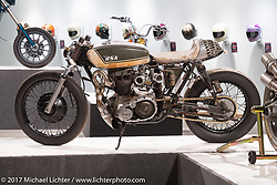 J Shia's custom BSA A65 Cafe Racer in the Old Iron - Young Blood exhibition in the Motorcycles as Art gallery at the Buffalo Chip during the annual Sturgis Black Hills Motorcycle Rally. Sturgis, SD, USA. Wednesday August 9, 2017. Photography ©2017 Michael Lichter.