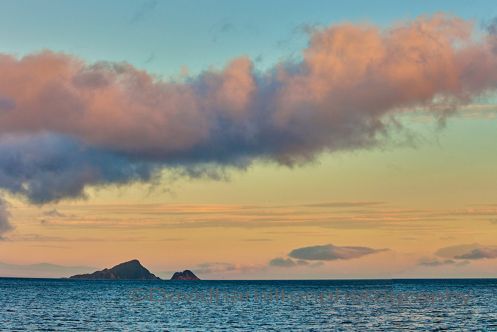 Dawn over Stevens Islands Marlborough Sounds. South Island New Zealand