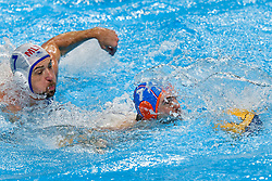 Lars Gottemaker #7 of Netherlands and Steven Camilleri of Malta during Netherlands vs Malta on LEN European Aquatics Waterpolo January 21, 2020 in Duna Arena in Budapest, Hungary