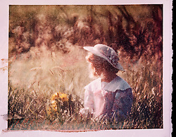 polaroid transfer young female girl with bonnet flowers field CONCEPT STOCK PHOTOS CONCEPT STOCK PHOTOS
