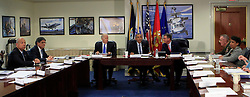 President Barack Obama chairs a meeting at the Pentagon of the National Security Council and receives an update from his national security team on the campaign to degrade and destroy the ISIL terrorist group.(left to right: Secretary of Homeland Security Jeh Charles Johnson, Secretary of the Treasury Jack Lew, Vice President Joseph Biden, President Barack Obama, Secretary of Defense Ashton Carter.Chairman of JCS General Joseph F.Dunford Jr.and Attorney General Loretta Lynch Washington, DC, USA, August 4, 2016. Photo by Dennis Brack/Pool/ABACAPRESS.COM